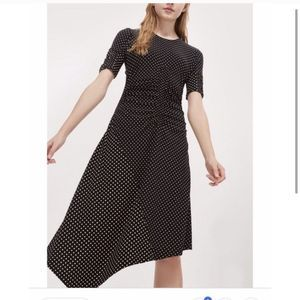 Topshop Scrunched Waist Polka Dot Midi Dress
